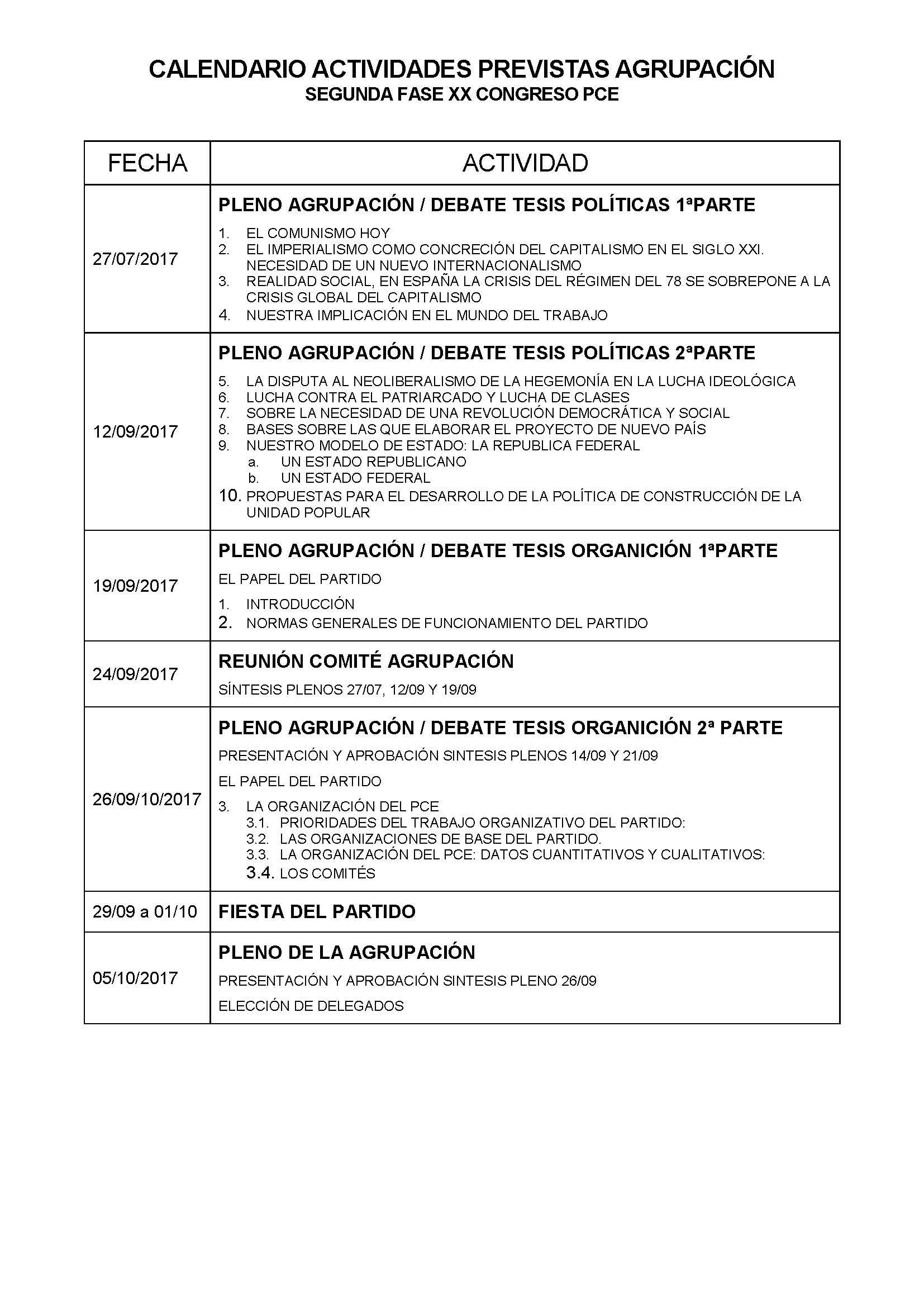 Calendario agrupación congreso