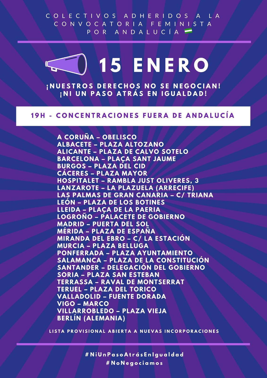 Cartel con concentraciones feministas 15 de enero fuera de Andalucía